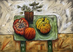 Still Life Painting Exotic Fruit with Flowers by Cubist Fauvist British Artist
