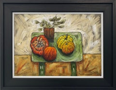 Still Life Painting of Fruit & Veg with Flowers by Cubist Fauvist British Artist