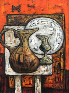 Still Life Painting of Goblet Orange Background by Cubist Fauvist British Artist