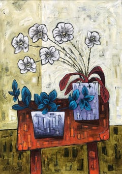 Still Life Painting of Orchids with Violet Pots by Cubist Fauvist British Artist