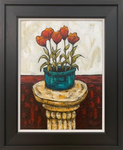 Still Life Painting of Tulip Flowers in Vase by Cubist Fauvist British Artist