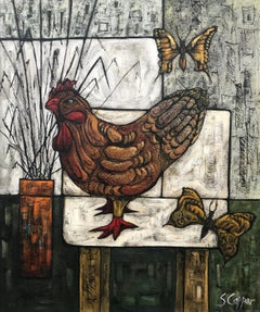 Still Life Painting with Chicken & Butterflies by Cubist Fauvist British Artist