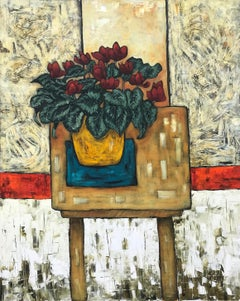 Still Life Painting with Cyclamen House Plant by Cubist Fauvist British Artist