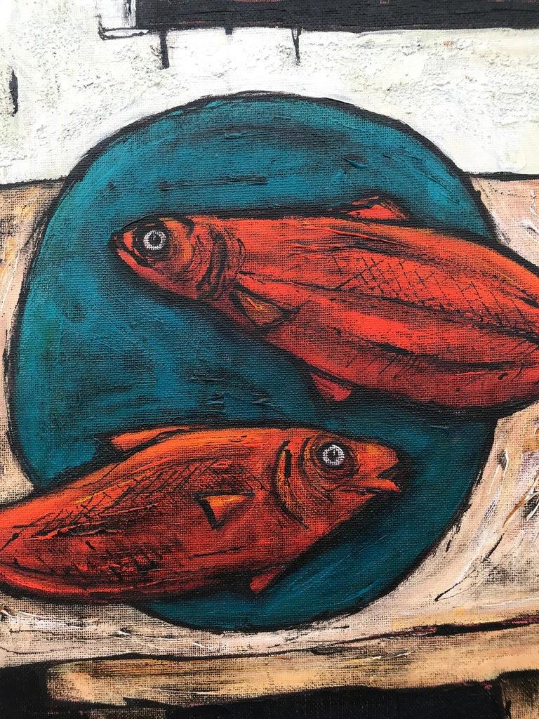 Still Life Painting with Fish and Plant by Cubist Fauvist British Artist - Black Still-Life Painting by Steve Capper