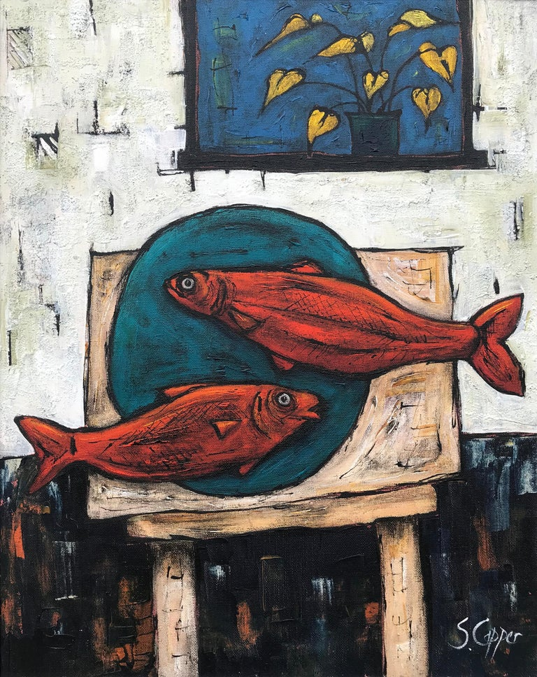 Steve Capper Still-Life Painting - Still Life Painting with Fish and Plant by Cubist Fauvist British Artist