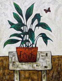 Still Life Painting with Plant in Orange Pot by Cubist Fauvist British Artist