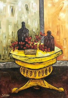 Still Life with Yellow Table Painting by Cubist Fauvist inspired British Artist
