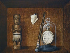 """Brown realist painting, """"Gifts"""", inspired by Joseph Cornell"""