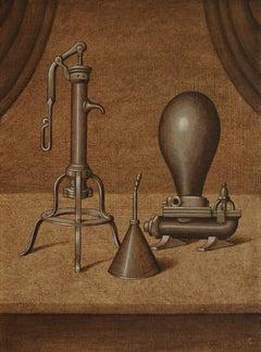 """Brown realist painting, """"Gruppo Della Famiglia"""", inspired by Joseph Cornell"""