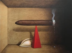 """Brown realist painting, """"Fulcrum"""", inspired by Joseph Cornell"""