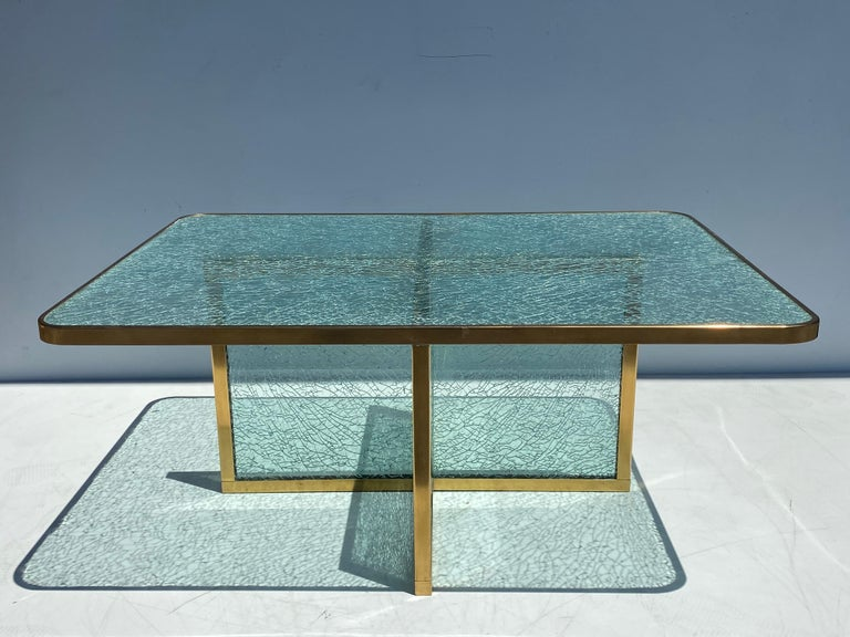 Steve Chase designed crackled glass and brass coffee table.