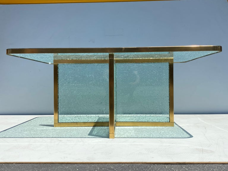 American Steve Chase Crackled Glass and Brass Coffee Table For Sale