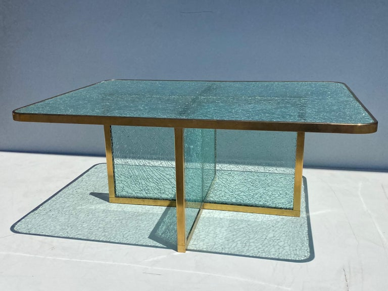 Polished Steve Chase Crackled Glass and Brass Coffee Table For Sale