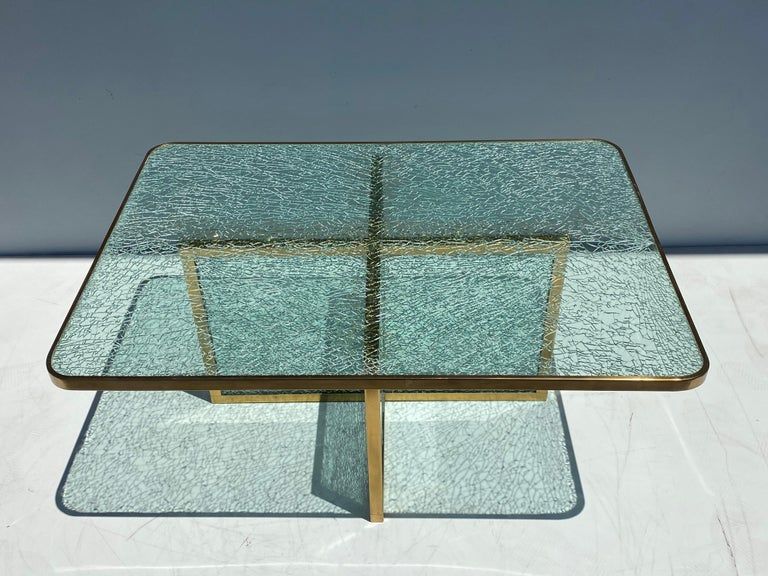 Late 20th Century Steve Chase Crackled Glass and Brass Coffee Table For Sale