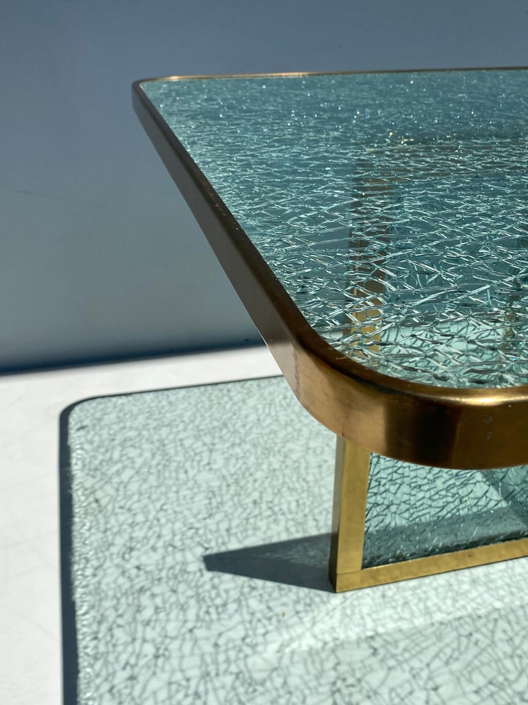 Steve Chase Crackled Glass and Brass Coffee Table For Sale 2