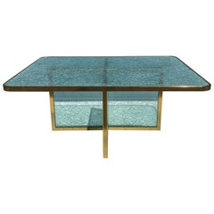 Steve Chase Crackled Glass and Brass Coffee Table