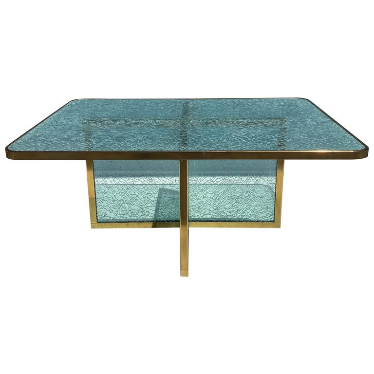 Steve Chase Crackled Glass and Brass Coffee Table For Sale