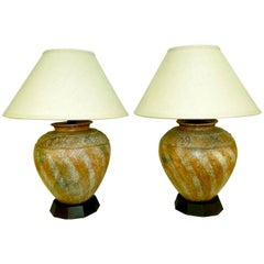 Steve Chase Designed Pair of Tribal Ceramic Lamps 1980s Modern