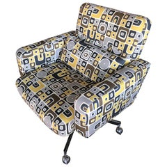 Steve Chase Desk Chair Chrome Base/Casters in Modern Graphic Print