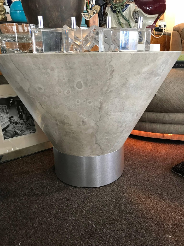 Other Steve Chase Faux Plaster and Brushed Metal Modernist Side Table For Sale