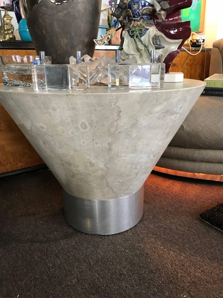 Steve Chase Faux Plaster and Brushed Metal Modernist Side Table In Good Condition For Sale In Palm Springs, CA
