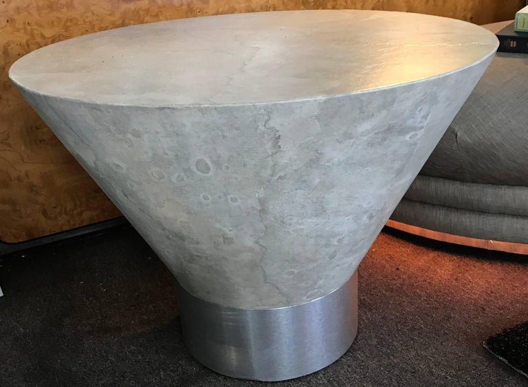Late 20th Century Steve Chase Faux Plaster and Brushed Metal Modernist Side Table For Sale