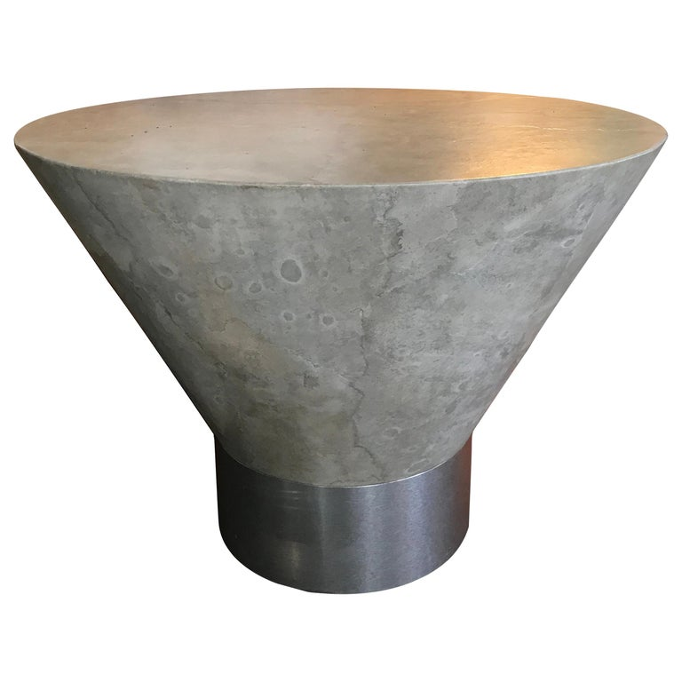 Steve Chase Faux Plaster and Brushed Metal Modernist Side Table For Sale