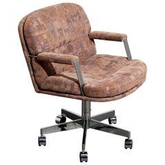 Steve Chase for George Kasparian Desk Chair w Jack Lenor Larsen Fabric, Signed