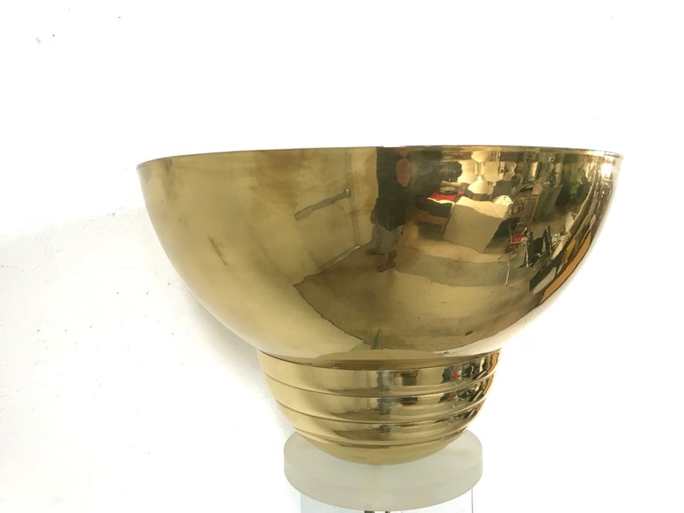 20th Century Steve Chase Glass Lucite and Brass Floor Lamp or Torchiere For Sale