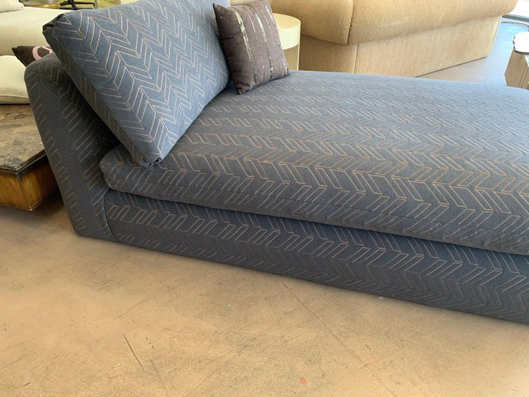 Embroidered Steve Chase Grey & Bronze Modern Chaise Lounge from the Palm Springs Kroc Estate