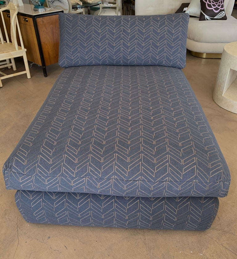 Fabric Steve Chase Grey & Bronze Modern Chaise Lounge from the Palm Springs Kroc Estate