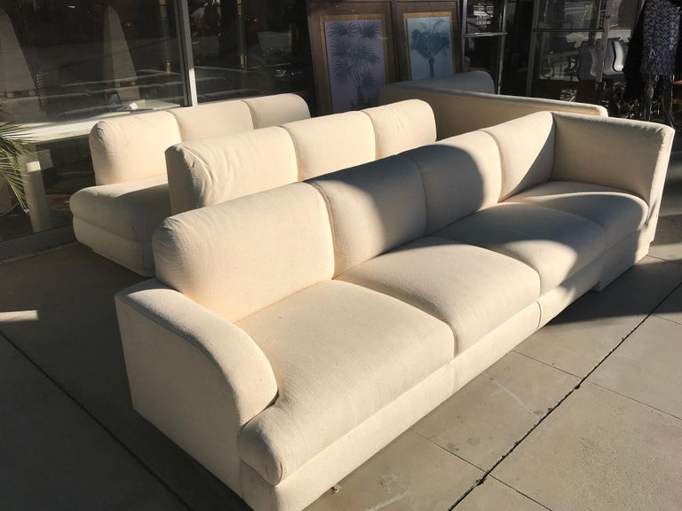 Hand-Crafted Steve Chase Iconic Modern Sofa Crème Color Neutral Made by A. Rudin For Sale