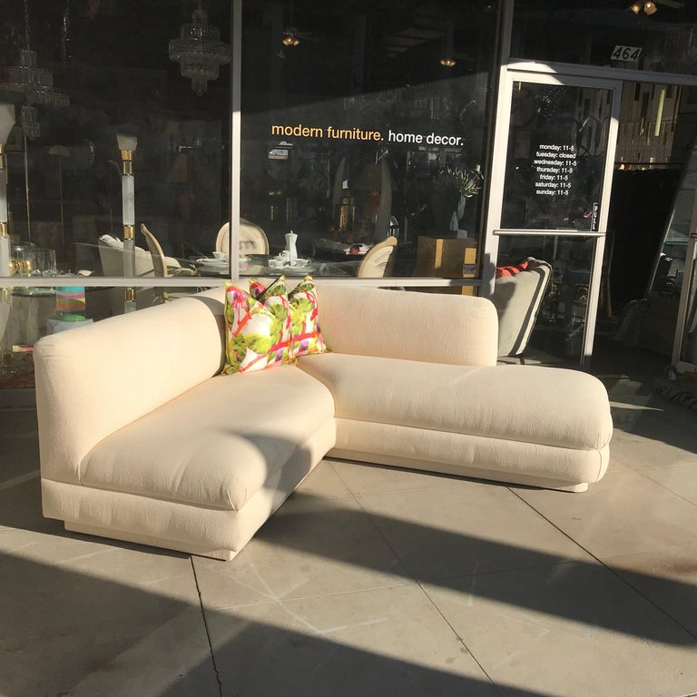 Steve Chase Iconic Modern Sofa Crème Color Neutral Made by A. Rudin In Good Condition For Sale In Palm Springs, CA