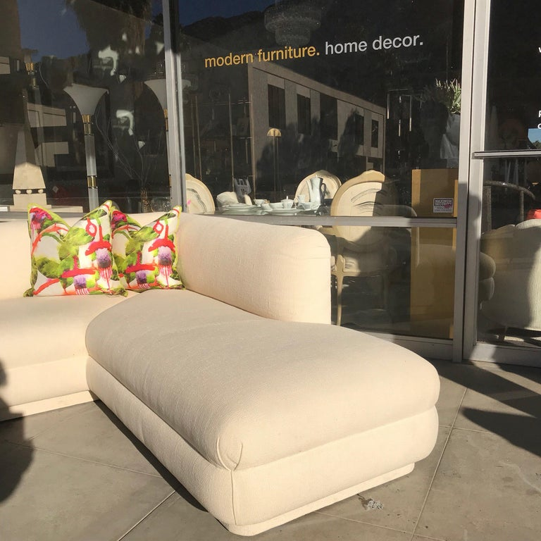 Late 20th Century Steve Chase Iconic Modern Sofa Crème Color Neutral Made by A. Rudin For Sale