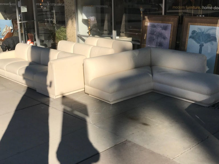 Fabric Steve Chase Iconic Modern Sofa Crème Color Neutral Made by A. Rudin For Sale