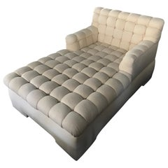 Steve Chase Marshmallow Tufted Chaise Lounge Crème Neutral Made by A. Rudin