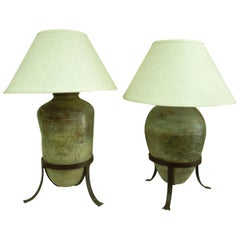 Steve Chase Original Large Antique Vessel Pair of Lamps With Stands