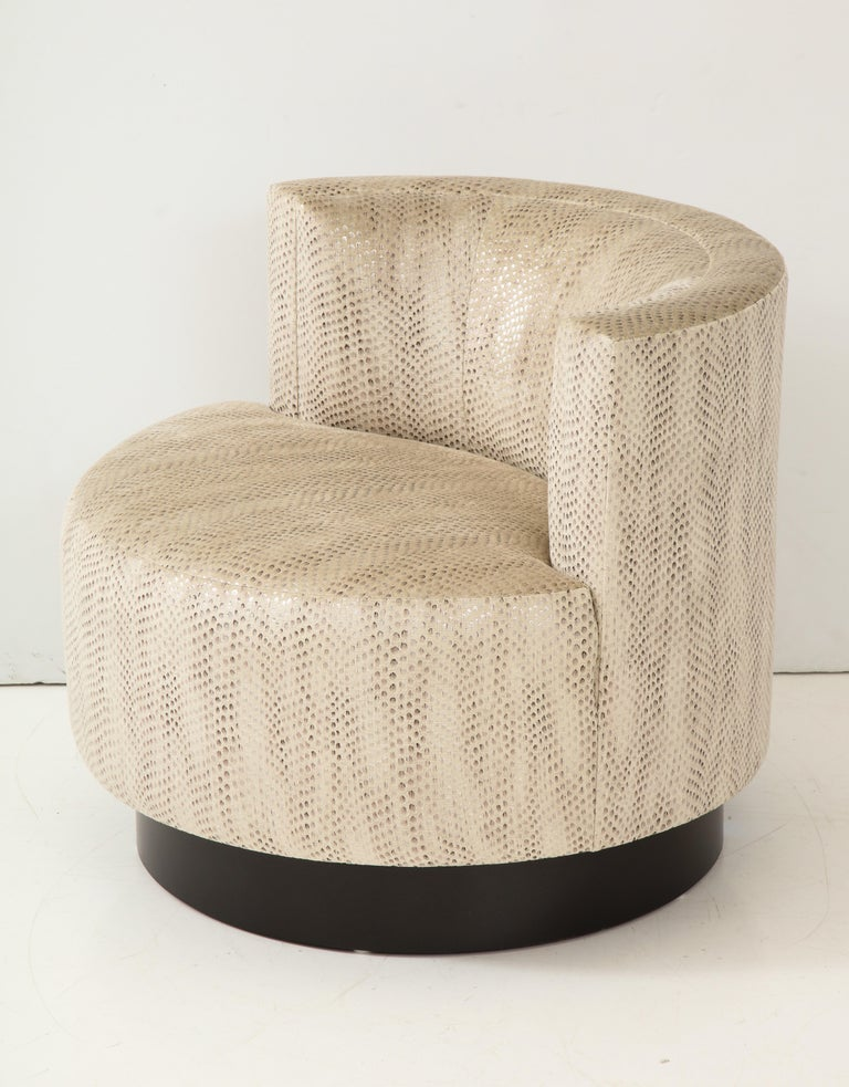 Fabric Steve Chase Swivel Chair For Sale