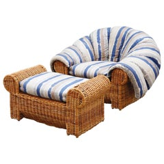 Steve Chase Wicker Rattan Cushioned Lounge Armchair and Ottoman, 1980s