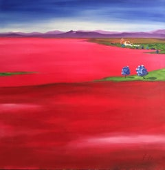 'Summer Fields', Large Spanish Landscape Signed Oil Painting