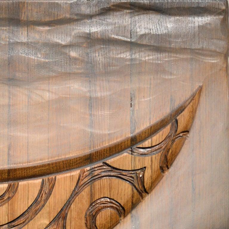TEAK CANOE II - Brown Figurative Sculpture by Steve Jensen