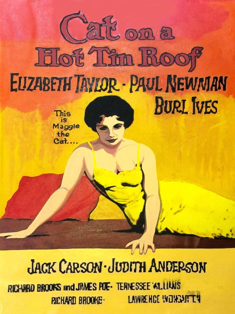 Steve Kaufman Figurative Painting - ELIZABETH TAYLOR - CAT ON A HOT TIN ROOF