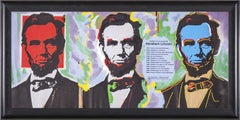 Steve Kaufman Abe Abraham Lincoln Warhol Famous Assistant Oil Painting Canvas