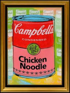 STEVE KAUFMAN Campbells Chicken Noodle Soup Oil Painting On Canvas Signed Art