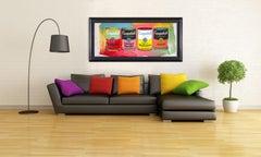 Steve Kaufman Campbells Soup Quad Warhol Famous Assistant Pop Art Painting