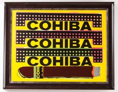 Steve Kaufman Cohiba Cigar Original Oil Painting Man Cave Lady Layer Tobacco