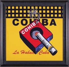 Steve Kaufman Cohiba Cigar Original Oil Painting Warhol Famous Assistant