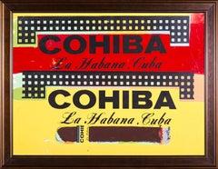 Steve Kaufman Double Cohiba Cigar Original Oil Painting Warhol Famous Assistant