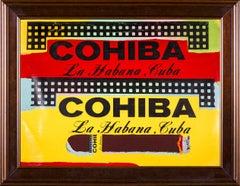 Steve Kaufman Double Cohiba Warhol Famous Assistant Pop Art Oil Painting Canvas