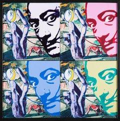 Steve Kaufman Hommage 2 Salvador Dali Quad Original Oil Painting Signed Original